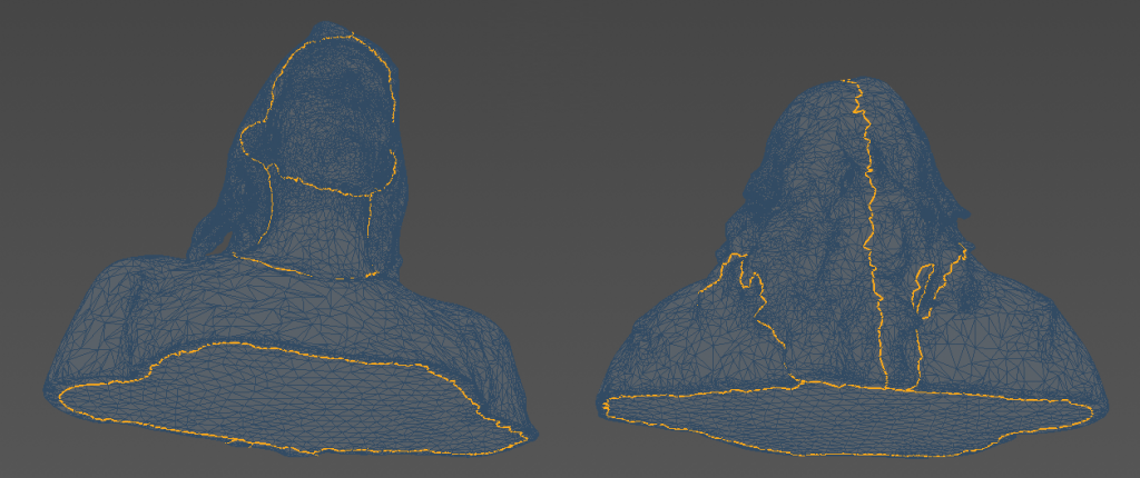 "These are the Edge selections I made for this model. I made a separate selection for the face, neck, shirt and hair. Note that I've split the hair into two parts. This is because the UVs of tapered shapes will get very distorted when ""relaxed"". I also made a separate selection for the bottom surface."