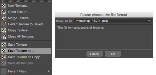Because JPGs can't contain layers, you should save the texture as a Photoshop (PSD) file to edit it in the next step.