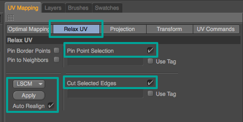 In the Relax UV tab, make sure Pin Point Selection is checked. This will make sure the points selected on the face will not stretch. Also check Cut Selected Edges. This will use the edge selection to create separate UV islands. You can select either the LSCM or ABF algorithm (sometimes one looks better than the other: experiment!). Check Auto Realign and hit Apply. This can take some time.