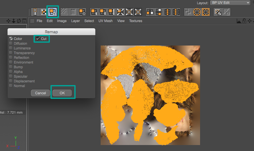 You should see that the UVs are now rearranged into islands, but the texture itself is still the same. Click the Remap icon, make sure Cut is checked and click OK. This will move the parts of the texture to their new locations.