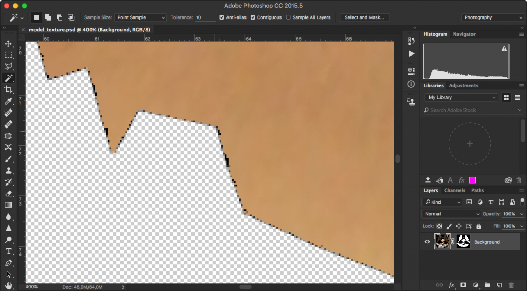 Here you can see the black pixels that are the culprit for the visible lines in the texture.