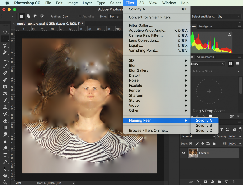 Select the layer and go to Filters > Flaming Pear > Soldify A. (download here if you missed it in the intro)