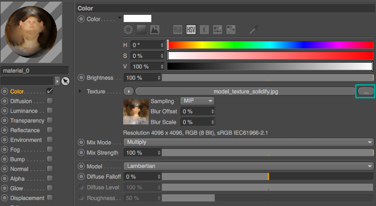 Go back to Cinema 4D / BodyPaint 3D and open the material in the Material Manager. In the Color channel, load the texture you just saved from Photoshop.