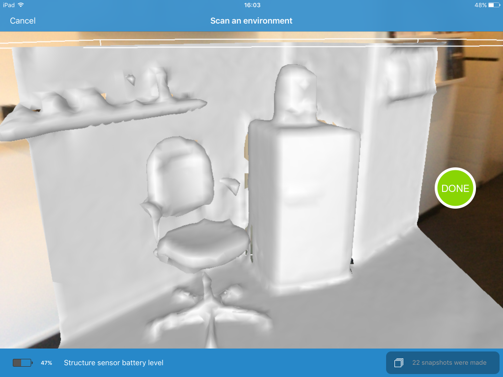 itSeez3D Structure Sensor 3D Scanning App for iPad Review - Environment Scan
