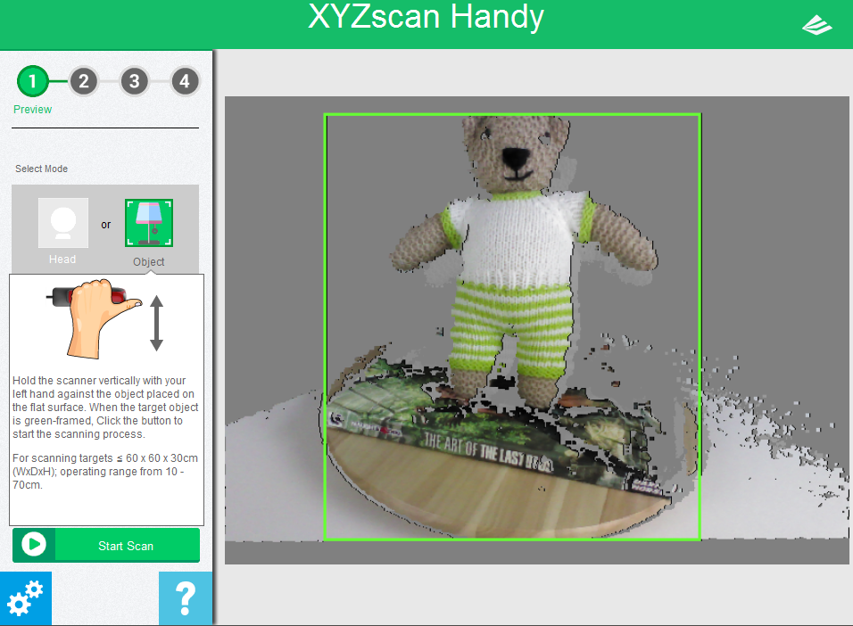 XYZ printing 3D Scanner Review - Tooltip